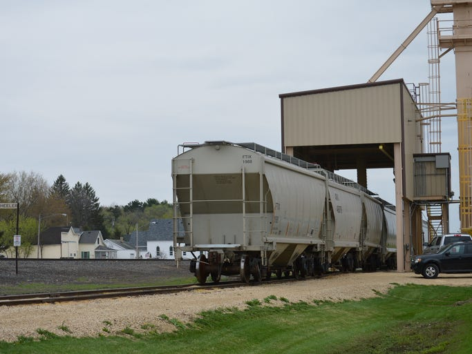 A rail load-out facility in Wheeler. Despite being located almost 15 miles away from the Fairmount Minerals plant in Menomonie, trucking sand to the facility is still the most economical option, says Rich Budinger, regional manager for the company.