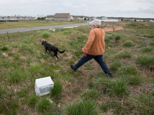 John Welsh, a resident at Heron Bay, and his dog Cowboy  walk in the area of the development that has been treated like a trash dump.