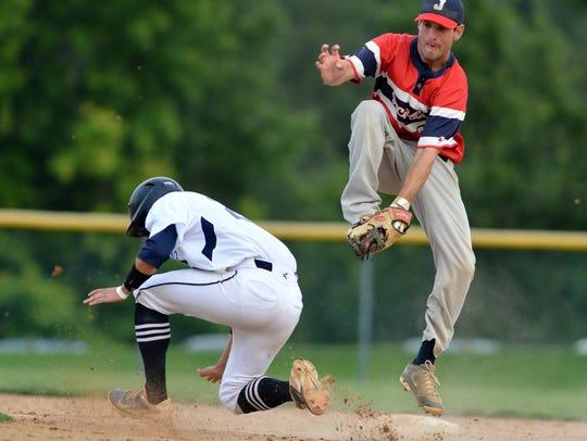 Jacobus second baseman Kyle Saxman gets a lucky call