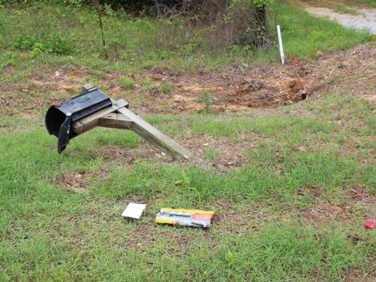 A damaged mailbox in south Montgomery County.