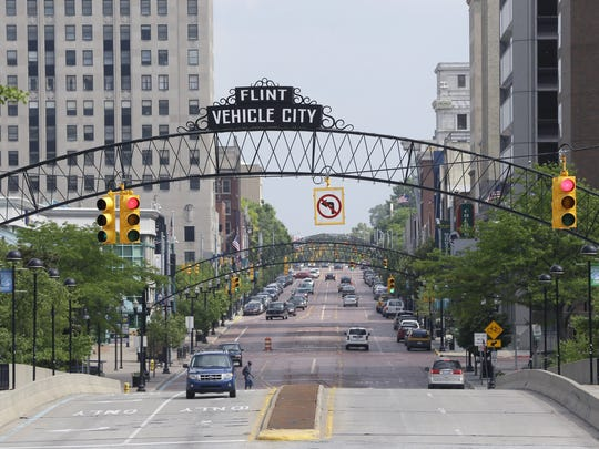 In a June 12, 2014 photo in Flint, a view looking south on Saginaw St. is seen.