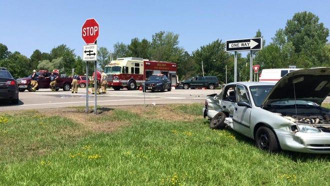 Emergency crews on scene of fatal crash Saturday.