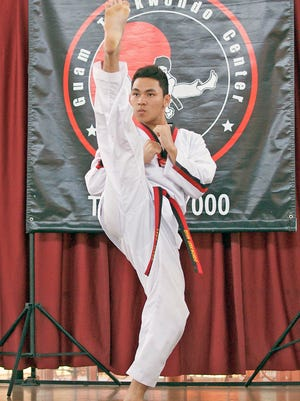 Jake Piano executes a front kick while performing the koryo, a black belt form during the last taekwondo poomsae competition at the Micronesia Mall. The 2015 Master Noly's Taekwondo Poomsae Championships II is scheduled for Nov. 8 at the Micronesia Mall. Poomsae is the Korean term for a synchronized set of movements involving various stances, hand strikes and blocks, accompanied by kicking and shouting. The purpose of poomsae is to apply all these martial arts techniques against an imaginary opponent. There will be two categories: individual and group competition. The group division will be an open freestyle, which will combine forms with dance, gymnastics and calisthenics accompanied by music and is open to all traditional martial arts schools. Anyone who would like to participate in the tournament may call 637-7000, or email nolycaluag@yahoo.com.