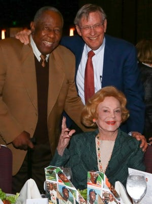 Hank Aaron, Bud Selig and Barbara Sinatra.