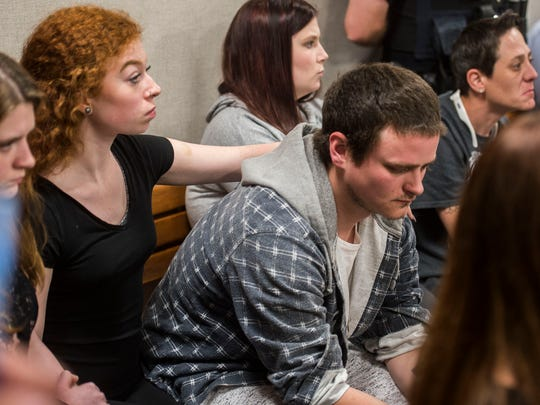 Friends and family of Jared Streeter, who police say fell to his death after a fight with Joshua Granger, 20, on the Blue Bridge over the weekend, attend the arraignment hearing for Granger in Vermont Superior Court in Burlington on Monday, June 11, 2018. Granger pleaded not guilty to a charge of second-degree murder.