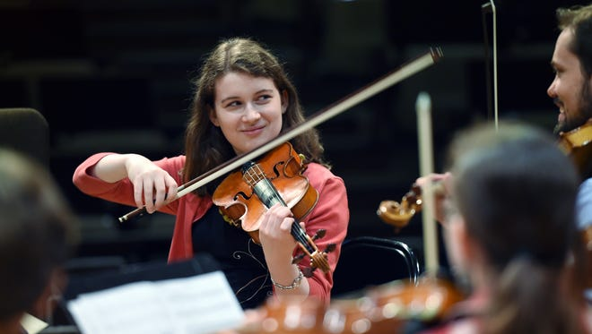 Local violinist Julia Kirk participates in a sectional rehearsal while at the Mississippi Symphony Orchestra's Premier Orchestral Institute at Millsaps College.