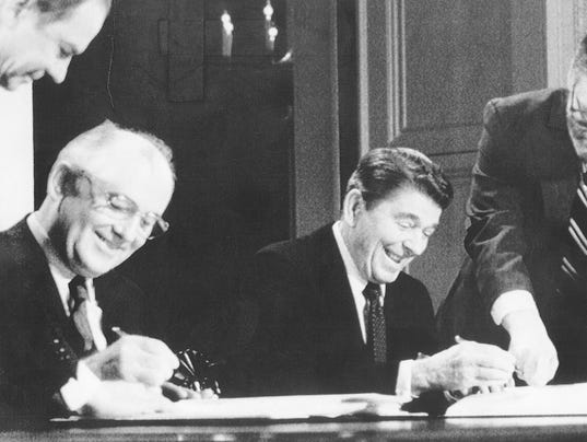 Ronald Reagan signs missile treaty with Mikhail Gorbachev