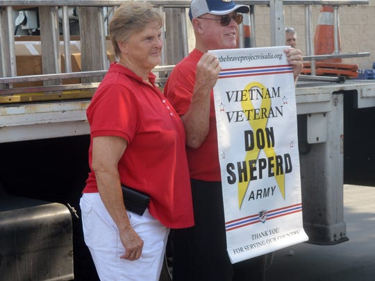 Don Shepherd's family honored him with a mini banner for his service in the Army during the Vietnam War.