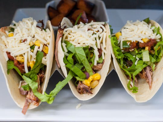 Pulled pork tacos at Mill River Brewing BBQ and Smokehouse