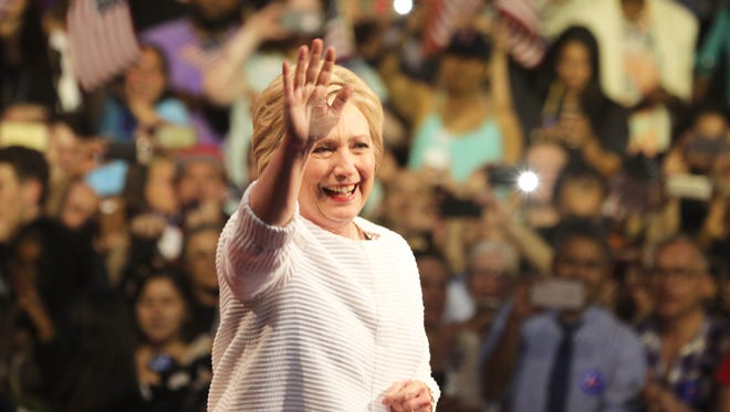 Hillary Clinton addresses supporters in Brooklyn Tuesday night. With the announced support of more super delegates, and after tonight's victory in the New Jersey primary and several other states, Clinton was celebrating winning the Democratic nomination for president.