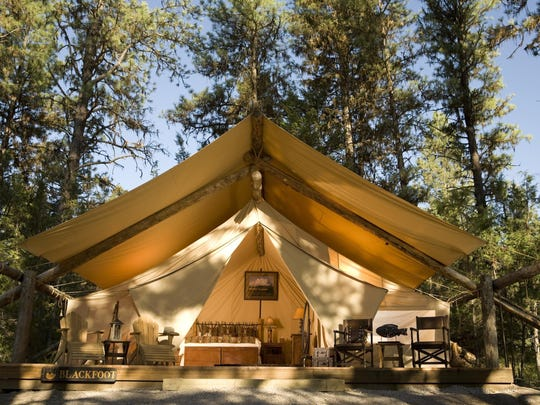The luxury camping tents at the Resort at Paws Up have