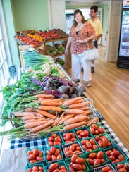 Vegetables, grown on site, are available for sale at