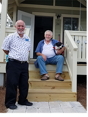 Ed Gines, left, the Senior Solutions Specialist at Elder Care Services with Mr. Rollins and Daisy.
