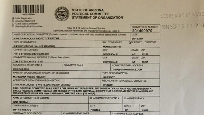A photo of a statement of organization from the Marijuana Policy Project of Arizona.