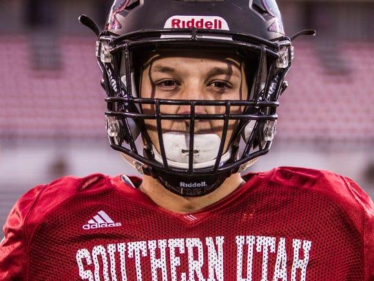 Southern Utah defensive lineman Chance Bearnson poses