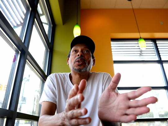 "Luis Smith talks about his path from the Dominican Republic to Lansing, by way of New Jersey, Friday, Aug. 26, 2016 at a Biggby on Michigan Avenue in downtown Lansing. Smith has lived at the City Rescue Mission for the past year. He resides in their ""work dorm"" area, which is used for tenants that are employed and offers more freedom than the emergency, overnight dormitory. Smith works at Olive Garden."