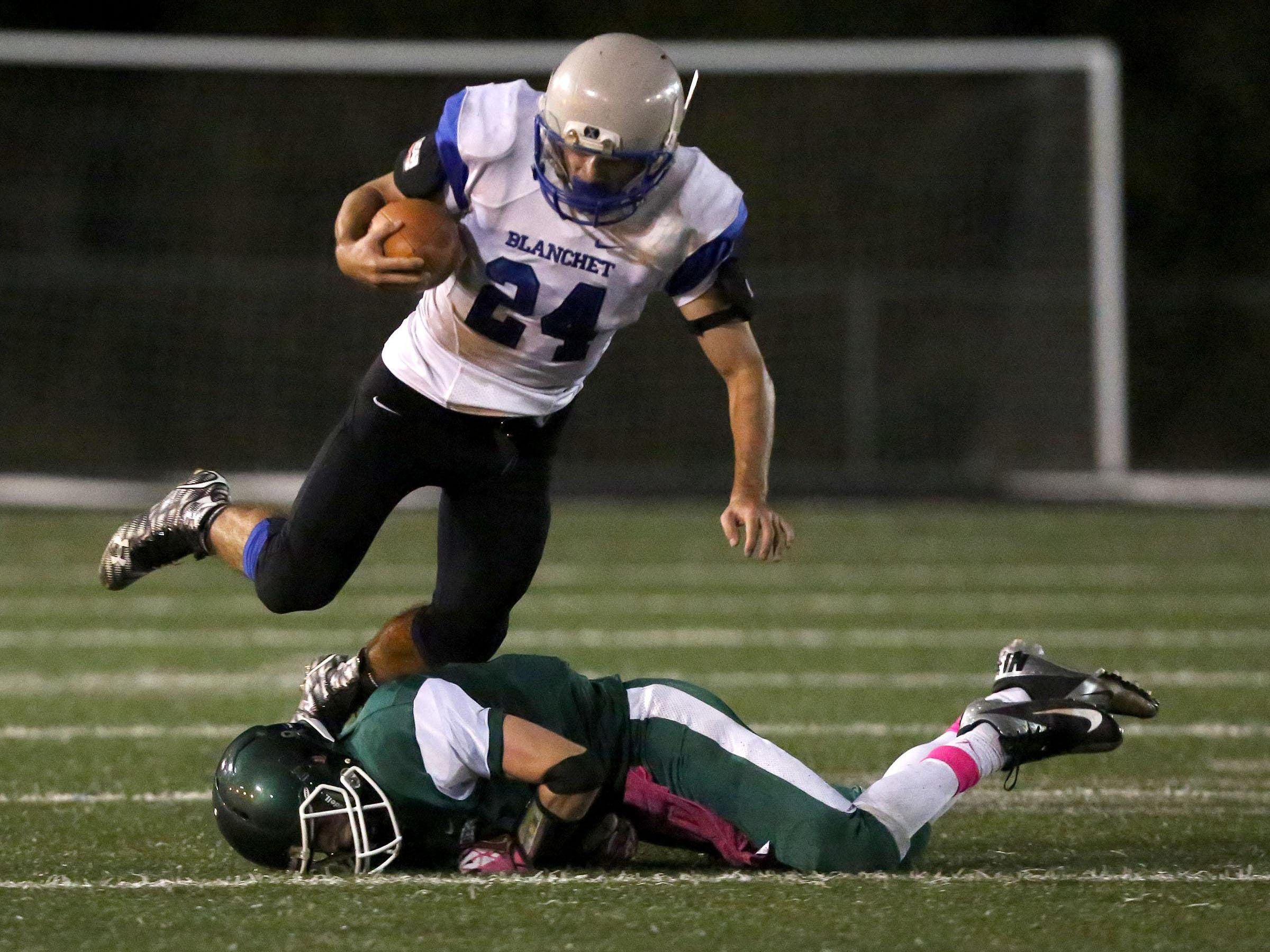 Salem Academy hosts Blanchet for their football game on Friday, Oct. 16, 2015, in Salem, Ore.