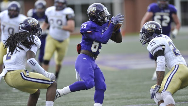 East Henderson alum Steffon Hill (85) was the top receiver for the Purple in Saturday's Western Carolina University spring game in Cullowhee.