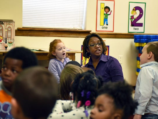 Olivia Carter speaks Tuesday with her pre-K students