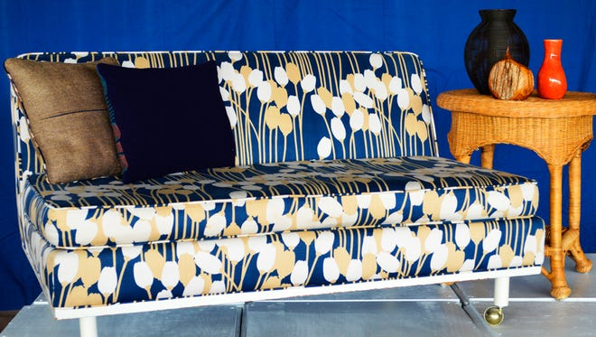 Navy couch.