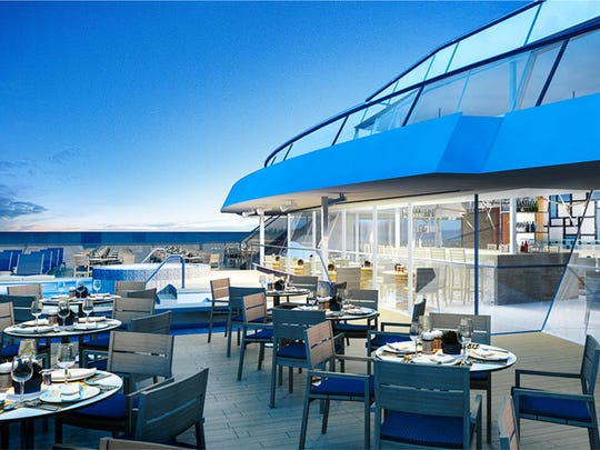 Terrace of the new Viking Sea cruise ship.