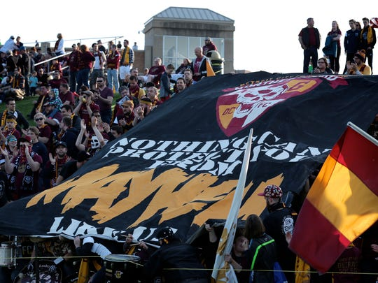Detroit City FC fans cheer for their team as they play the Michigan Bucks on Wednesday, May 11, 2016, at Oakland University in Auburn Hills, MI, during the U.S. Open Cup.