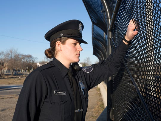 Detroit Police Officer Abby Campbell, 24, poses for
