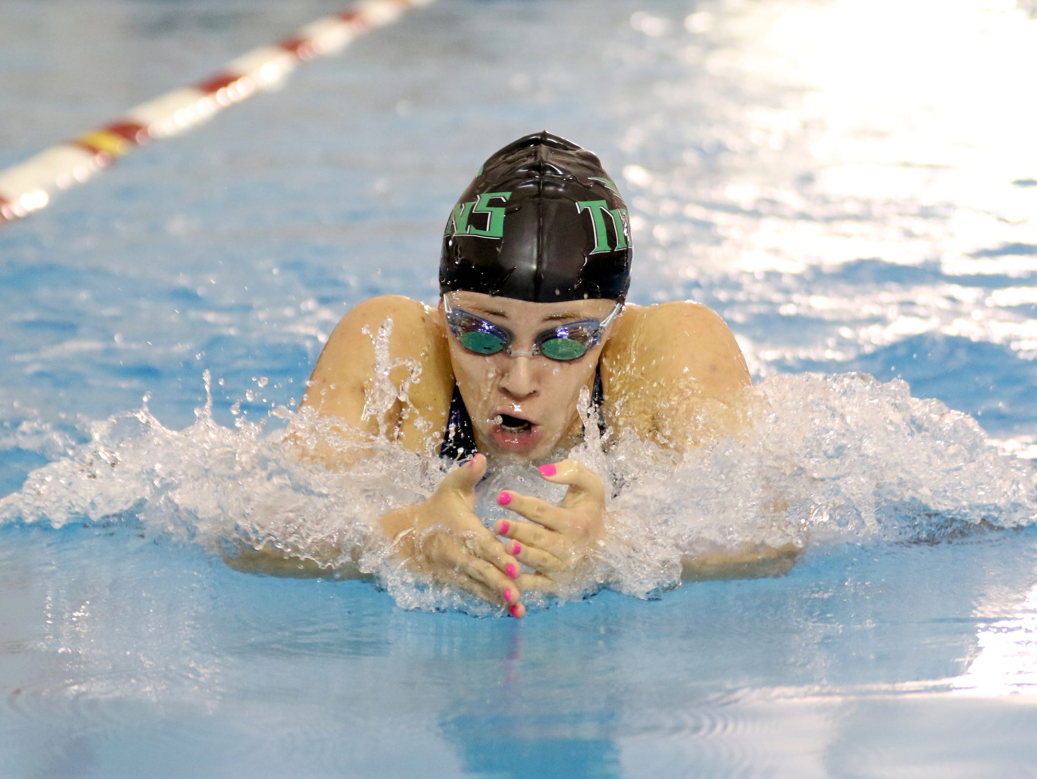 West Salem's Hannah Bodkin competes in the 100 yard breaststroke during the OSAA Class 6A Swimming State Championships at Mt. Hood Community College in Gresham on Saturday, Feb. 18, 2017.