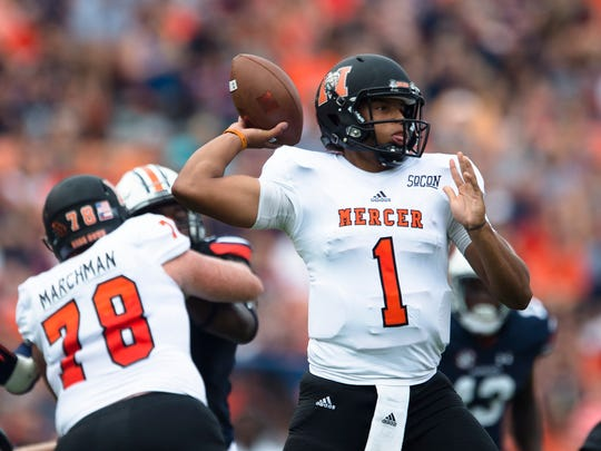 Mercer quarterback Kaelan Riley (1) throws a pass during the NCAA Football game between Auburn and Mercer on Saturday, Sept. 16, 2017, in Auburn, Ala. Auburn defeated Mercer 24-10.