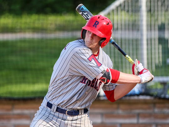 Roncalli Rebel Nick Schnell (7) bats during Marion