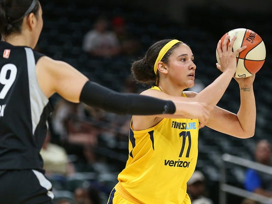 Indiana Fever forward Natalie Achonwa (11) at Banker's Life Fieldhouse in Indianapolis, June 12, 2018