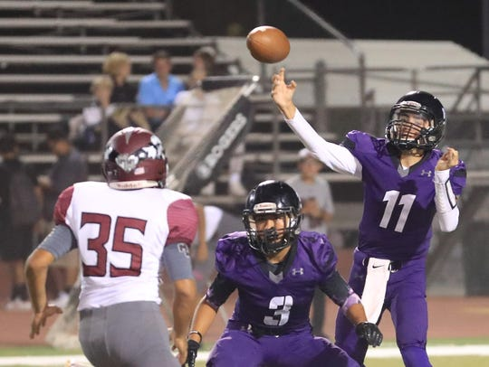 Mission Oak's QB Matt Bridges (11) passes against Mt