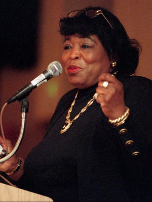 Betty Shabazz, widow of Malcolm X, speaks in Albuquerque, N.M., in this January 1997 file photo.