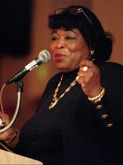 Betty Shabazz, widow of the late Black nationalist Malcolm X, speaks at the Uptown Sheraton Hotel in Albuquerque, N.M., on Jan. 25, 1997.