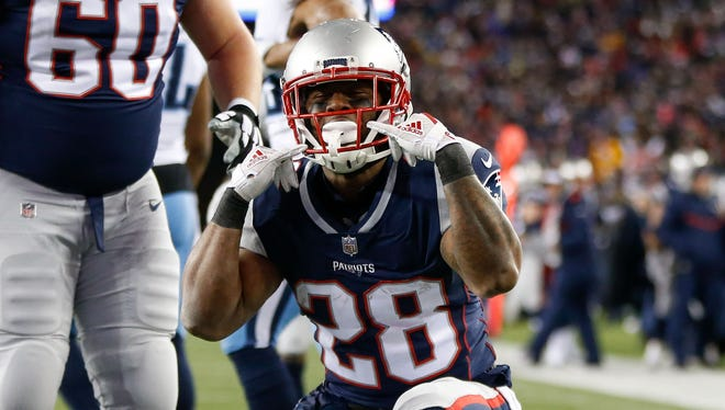 New England Patriots running back James White (28) celebrates after scoring a touchdown against the Tennessee Titans during the second quarter of the AFC Divisional playoff game at Gillette Stadium.
