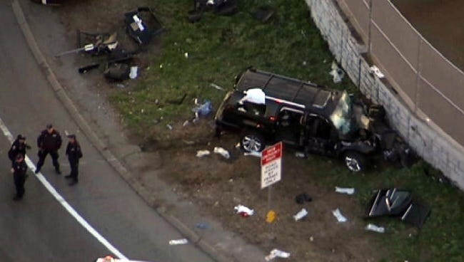 Scene of an SUV accident in which nine people were injured on northbound Interstate 95 on the Conner Street exit ramp in the Bronx on April 25, 2014. The Cadillac Escalade rammed head-on into a retaining wall.