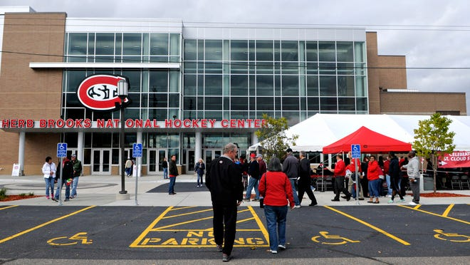 Fans gather for the grand re-opening of the Herb Brooks National Hockey Center at St. Cloud State University on Sept. 28. . The original hockey center opened 25 years ago this week.