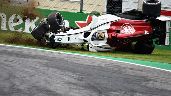F1 driver Marcus Ericsson walks away from scary crash in Italy
