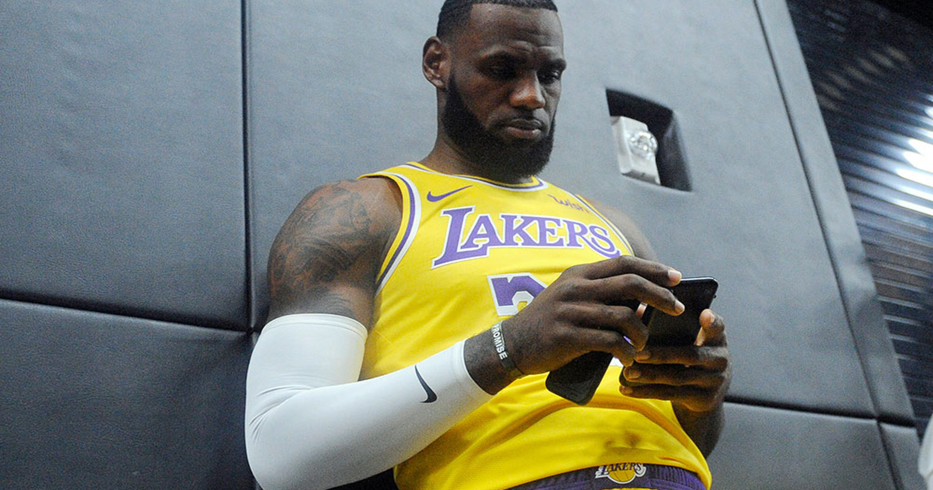 54ad69d84c66 When is LeBron James  first game with LA