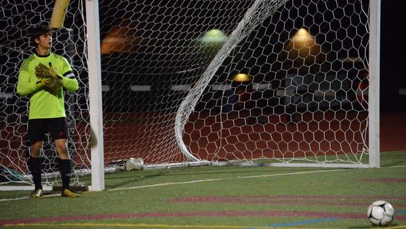 Nyack goalkeeper Sam Beck pauses in the second overtime