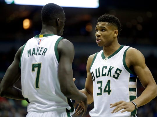 Bucks' Giannis Antetokounmpo and Thon Maker during a game March 11, 2017.