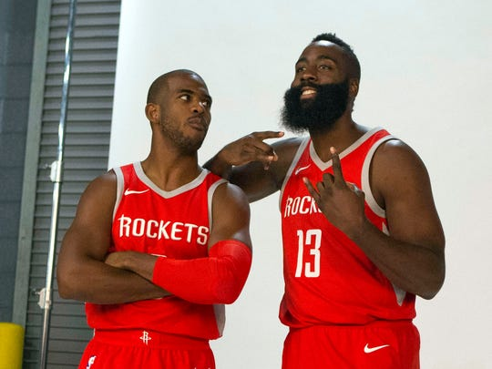 Houston Rockets guard Chris Paul (3) and guard James