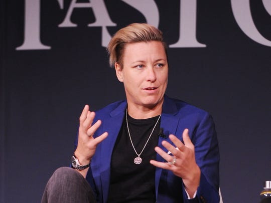 Soccer player and Activist Abby Wambach speaks onstage for Soccer Star and Activist Abby Wambach and Nike's Hannah Jones an Challenging The Status Quo at 92nd Street Y on October 26, 2017 in New York City.