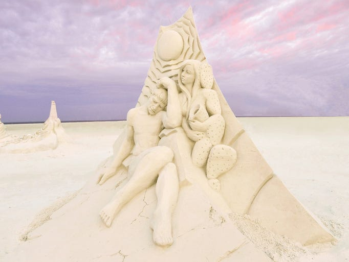 A stunning sand sculpture created during the American