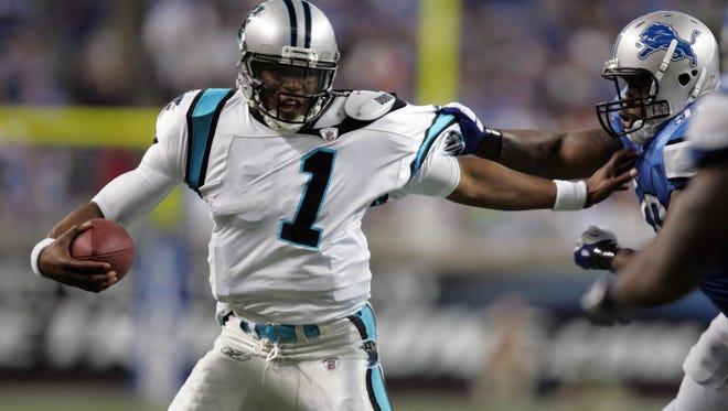 Carolina Panthers quarterback Cam Newton plays Nov. 20, 2011, at Ford Field.