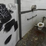 Clogged plumbing disables a boys' bathroom in Simon Sanchez High School  on Oct. 1.