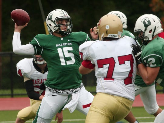 Delbarton quarterback Matthew Zebrowski throws vs Mt Olive during their football matchup. The Green Wave beat the Marauders 37-0. October 3, 2015, Morristown, NJ.