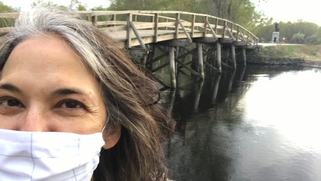 Melinda Lopez at North Bridge in Concord's Minute Man National Historical Park.