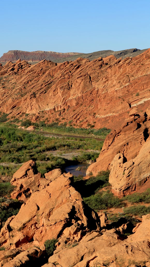 The Virgin River flows through the Babylon area of the Red Cliffs Desert Reserve as seen from the Arch Trail.
