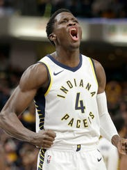 Indiana Pacers guard Victor Oladipo (4) hits the game